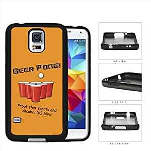 BEER PONG Funny Retro Postcard Orange Background [Samsung Galaxy S5 SM-G900] Rubber Silicone TPU Cell Phone Case