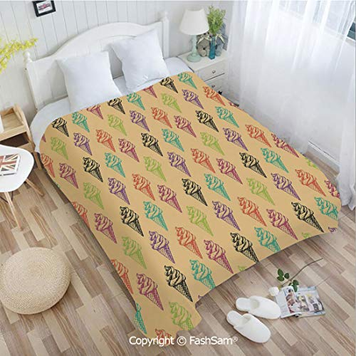 PUTIEN Unique Rectangular Flannel Blanket Modern and Stylized Cone Icons with Grunge Colors Effects Artsy Summer Print Decorative Blanket for Home(59Wx78L)