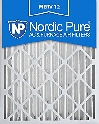 Nordic Pure MERV 12 Pleated Air Condition Furnace Filter, Box of 2