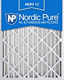 Nordic Pure 16x25x4 (3-5/8 Actual Depth) MERV 12 Pleated AC Furnace Air Filters, Box of 2