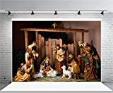 AOFOTO 7x5ft Christ Birth Backdrop Jesus Nativity Photography Background Shabby Stable Pray Bless Bible Scene The Epiphany of Our Lord Christ Photo Studio Props Video Drop Vinyl Xmas Wallpaper Drape