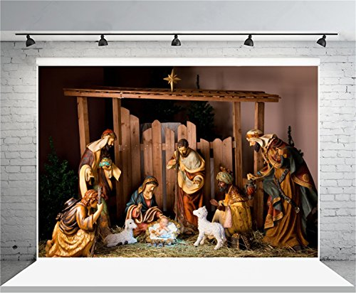 AOFOTO 7x5ft Christ Birth Backdrop Jesus Nativity Photography Background Shabby Stable Pray Bless Bible Scene The Epiphany of Our Lord Christ Photo Studio Props Video Drop Vinyl Xmas Wallpaper (Nativity Scene Background)