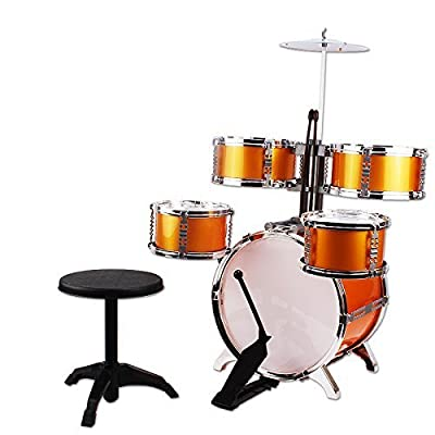 NiGHT LiONS TECH Music Jazz Drum Rock Set Toy Big Band Drum with Cymbals 6 Pcs (5 pcs Golden Drum and 1 pcs Chair) Educational Toys for Kids Party Game: Toys & Games