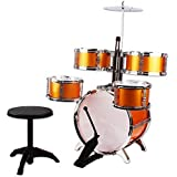 NiGHT LiONS TECH (TM) Music Jazz Drum Rock Set Toy Big Band Drum with Cymbals Golden Dump 5 pcs Educational Toys
