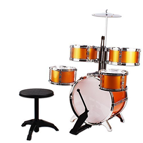NiGHT LiONS TECH Music Jazz Drum Rock Set Toy Big Band Drum with Cymbals Golden Dump 5 pcs Educational Toys for Kids Party Game
