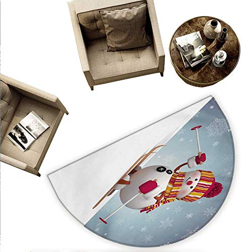 Snowman Half Round Door mats Skiing Snowman in 3D Style with Ornate Snowflakes Winter Outdoors Activity Fun Bathroom Mat H 55.1