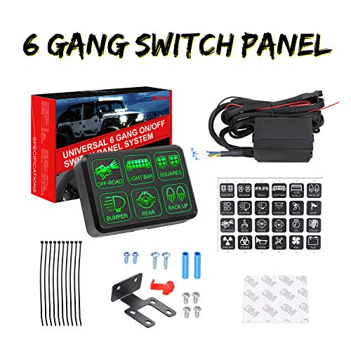 6 Gang Switch Panel, Swatow Industries Electronic Relay System Circuit Control Box Universal Touch Switch Box Power System for Truck Car Jeep SUV ATV UTV Boat Marine Waterproof