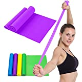 LUCKSTAR Resistance Bands – 59″ Elastic Yoga Pilates Rubber Stretch Resistance Exercise Fitness Band – Natural Latex Bands For Physical Therapy/Pilates/Yoga/Strength Training Workout (Purple)