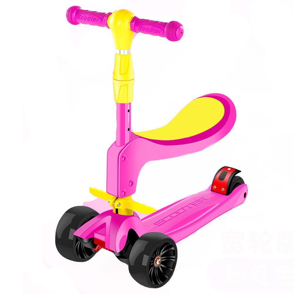 全国総量無料で キックスクーター三輪車スケートボードペダル式乗用スタントスクーター折りたたみ Pink Pink Tバーハンドル座席付き調節可能なLEDライトアップホイール付き B07H8WPDTF Pink Pink, ツートップ:bfd89e6c --- a0267596.xsph.ru