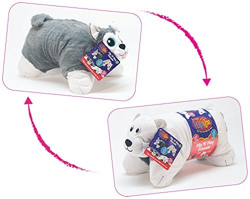 Flipazoo Flip N Play Friends Plush Toy and Pillow in 1 (Husky/Polar Bear) Instantly Transforms for Hours of Playtime and Naptime Fun