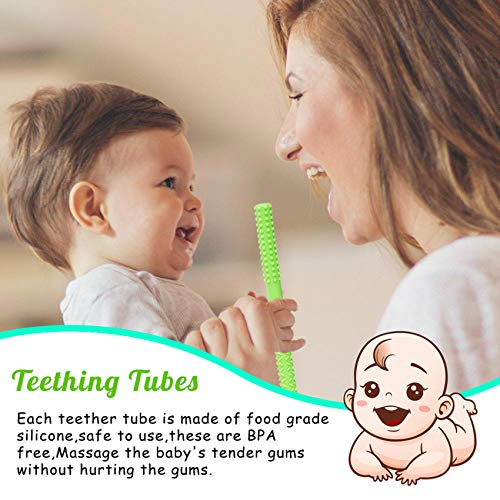 Baby Silicone Teething Tubes,Soft Baby Teething Toys for Babies 6-12 Months,5 Pack Hollow Baby Teether Toys Bpa Free Straw Sensory Toys Tubes for 0-6 Months Newborn Baby Boys Girl (5 Classic)