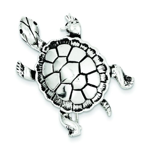 Sterling Silver Turtle Pin Brooch Fashion Jewelry
