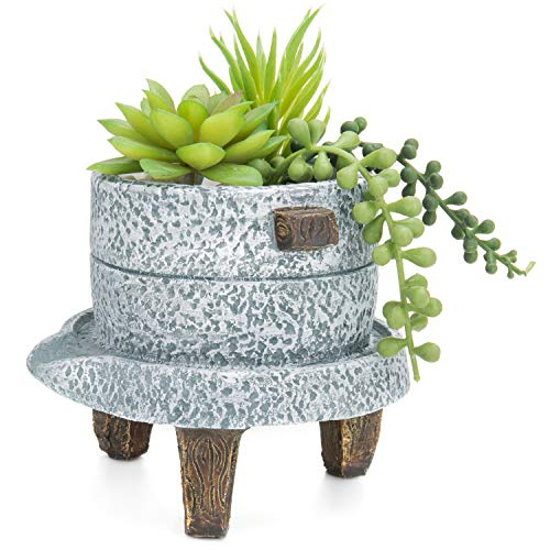 4 Inch Japanese Style Textured Cement Grey Succulent Planter Pot with Faux Wood Feet