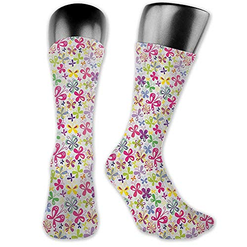 Street Style Sock Butterfly,Spring Season Themed Blooming Nature Inspired Flora and Fauna Pattern Swirls, Multicolor,socks women low cut ()