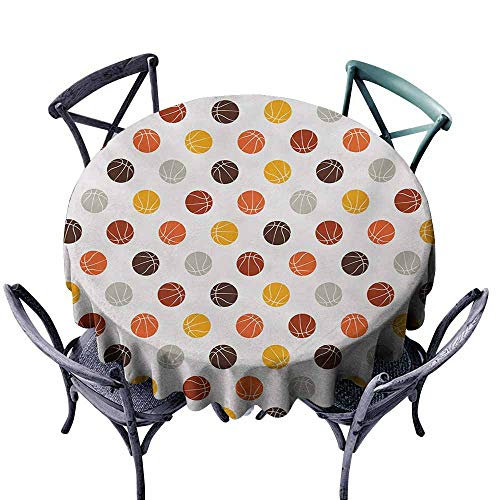 VIVIDX Round Outdoor Tablecloth,Basketball,Ball Pattern in Earthen Tones Competition Sports Professional League Game Player,for Banquet Decoration Dining Table Cover,35 INCH,Multicolor]()