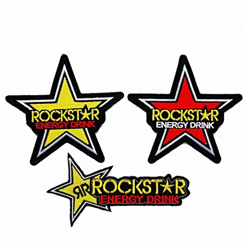 3pcs. Rockstar Energy Embroidered Iron on Patch ,Sew On Car Logo Clothes Clothing Skull Motorcycle Monster -