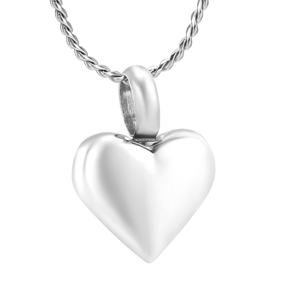High Polished Stainless Steel Blank Love Cremation Pendant Memorial Jewelry Ashes Holder Urn Keepsake Bracelet Accessories & Free Fill Kits (1-Silver)