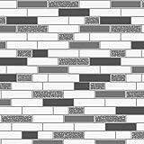 HOLDEN GRANITE OBLONG TILES BRICKS KITCHEN & BATHROOM TILING ON A ROLL WALLPAPER (89191 BLACK SILVER)