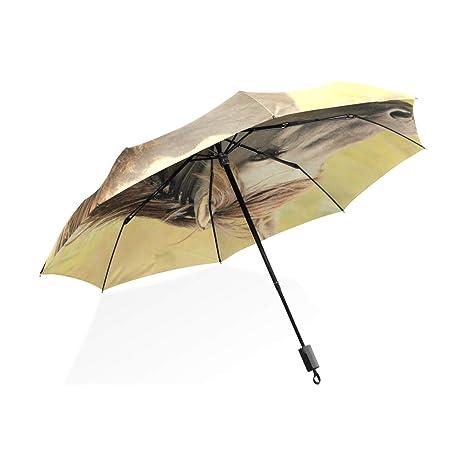ISAOA Paraguas de Viaje automático Compacto Plegable Paraguas marrón Caballo Resistente al Viento Ultra Ligero UV
