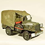 EliteTreasures Vintage Style 1944 Green Army Jeep WC51 1:14 Scale - Metal Collectible Army Truck - Shabby Decorative Collectible Ornament