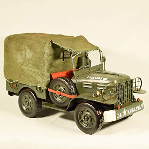 EliteTreasures Vintage Style 1944 Green Army Jeep WC51 1:14 Scale - Metal Collectible Army Truck - Shabby Decorative Collectible Ornament by EliteTreasures
