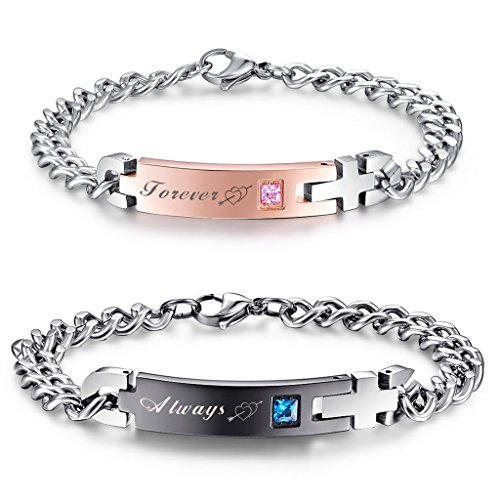 NEHZUS His and Hers Matching Set Titanium Stainless Steel Couples Bracelets P53VTjGYQ0