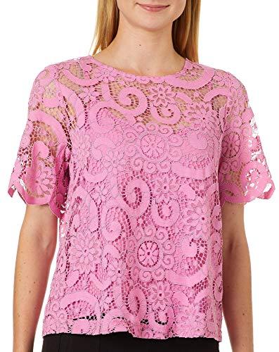 - Nanette Nanette Lepore Women's Ss Lace Tie Back Top, Chateau Rose M