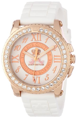 Juicy Couture Women's White RoseGold Silicone Strap Watch - 1