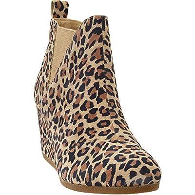 TOMS Desert Tan Leopard Suede Kelsy Bootie 10014153