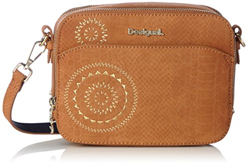 Desigual - Bols_jasper Agora. 5001. U, Mujer, Azul (Navy), 7.5x15x19.5 cm (b x h t) Marrón (Leather Brown)
