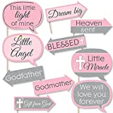 Funny Little Miracle Girl Pink & Gray Cross - Baptism or Baby Shower Photo Booth Props Kit - 10 Piece