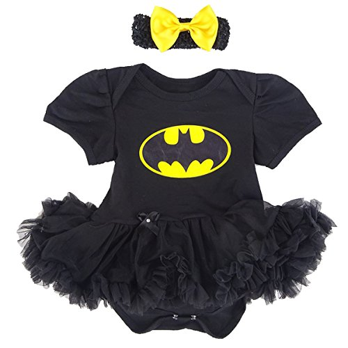 [A&J Design Baby Girls' Batgirl Tutu Dress Halloween Costume (3-6 Months)] (Baby Batgirl Outfit)