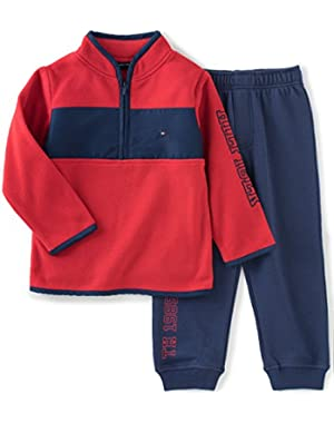 Tommy Hilfiger Baby Boys' 2 Piece Fleece Top and Pant Set