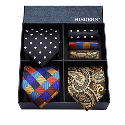 PCS Pocket Men's Silk Classic HISDERN Elegant Necktie Tie Multiple Lot Square 3 amp; Set Sets 04 T3d xwwq1R