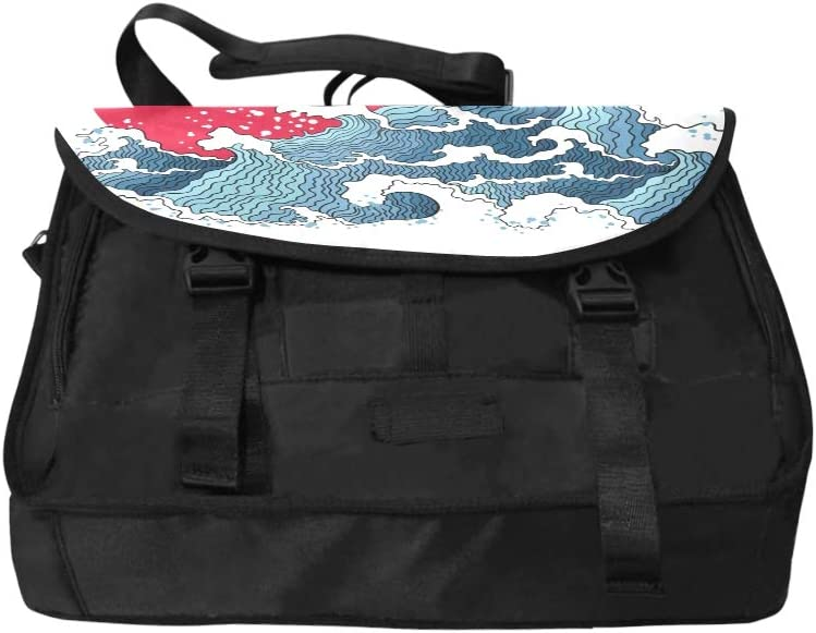Computer Laptop Bag Asian Waves and Sun Multi-Functional Laptop Briefcase Handbag Fit for 15 Inch Computer Notebook MacBook