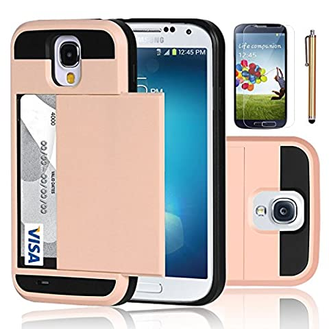 Galaxy S4 Case, EC™ Samsung Galaxy S4 Wallet Case, Hybrid High Impact Resistant Protective Shockproof Hard Shell with Card Holder Slot Cover for Samsung S4 IV I9500 (Rose (Galaxy S4 Cases With Card Holder)