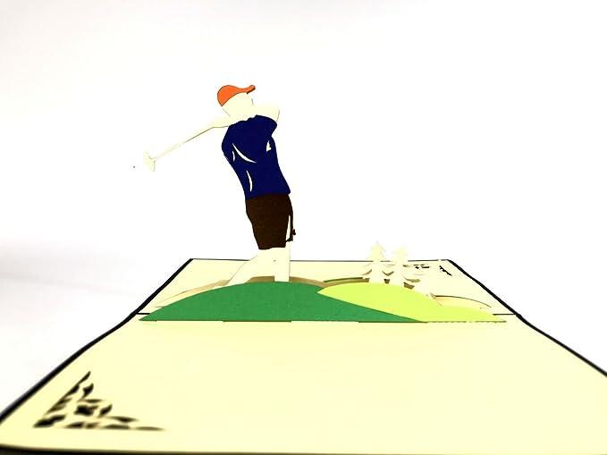 Tarjeta de felicitación de golf, tigre de madera, club de ...