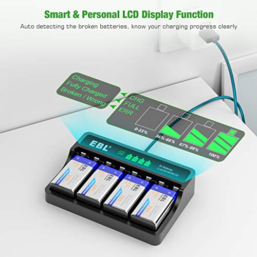 EBL 9V Rechargeable Batteries 4 x 280mAh Ni-MH and 4 Slot LCD 9V Battery Charger with Type C and Micro USB Input