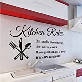 COFFLED Kitchen Rules Wall Decal Stickers, Good Mildew Resistant Vinyl Wall Decoration For Kitchen or Restaurant