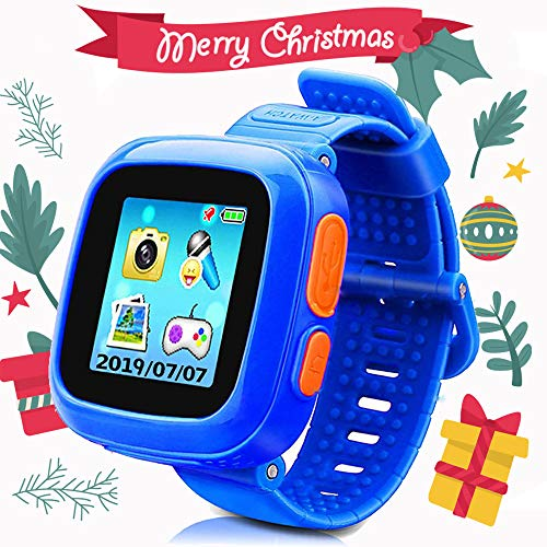 Kids Smart Watch Game Smartwatch with Mini Camera Alarm Clock Timer Health Monitor Pedometer Photo Sticker Learning Toys for Boys and Girls Age 3-12 yrs(Blue)
