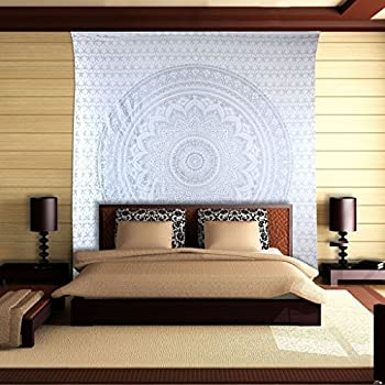 Amazon Com Gray Ombre Tapestry Mandala Tapestry Queen