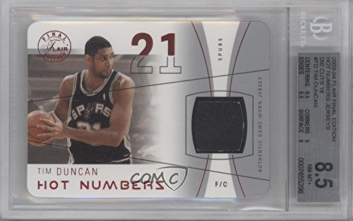 Tim Duncan BGS GRADED 8.5 #9/18 (Basketball Card) 2003-04 Flair Final Edition - Hot Numbers Jerseys - Red Die-Cut (Red Final Cut)