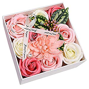 XWU Artificial Flowers Soap Roses Gift Box with Butterfly and Crystal for Valentine's Day Mother's Day Wedding Birthday Anniversary 116