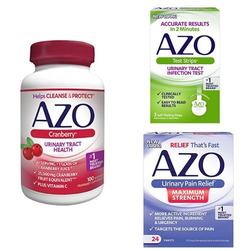 AZO Maximum Urinary Health Pack | 3 Products to Test for a UTI, Relieve UTI Pain, and Cleanse + Protect The Urinary Tract