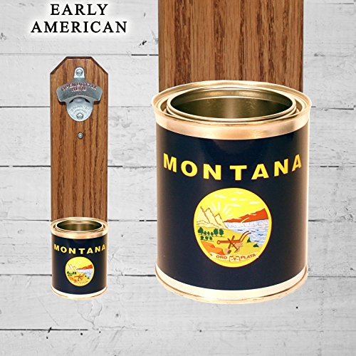Montana State Opener Bottle (Wall Mounted Bottle Opener with Montana State Flag Tin Can Cap Catcher)