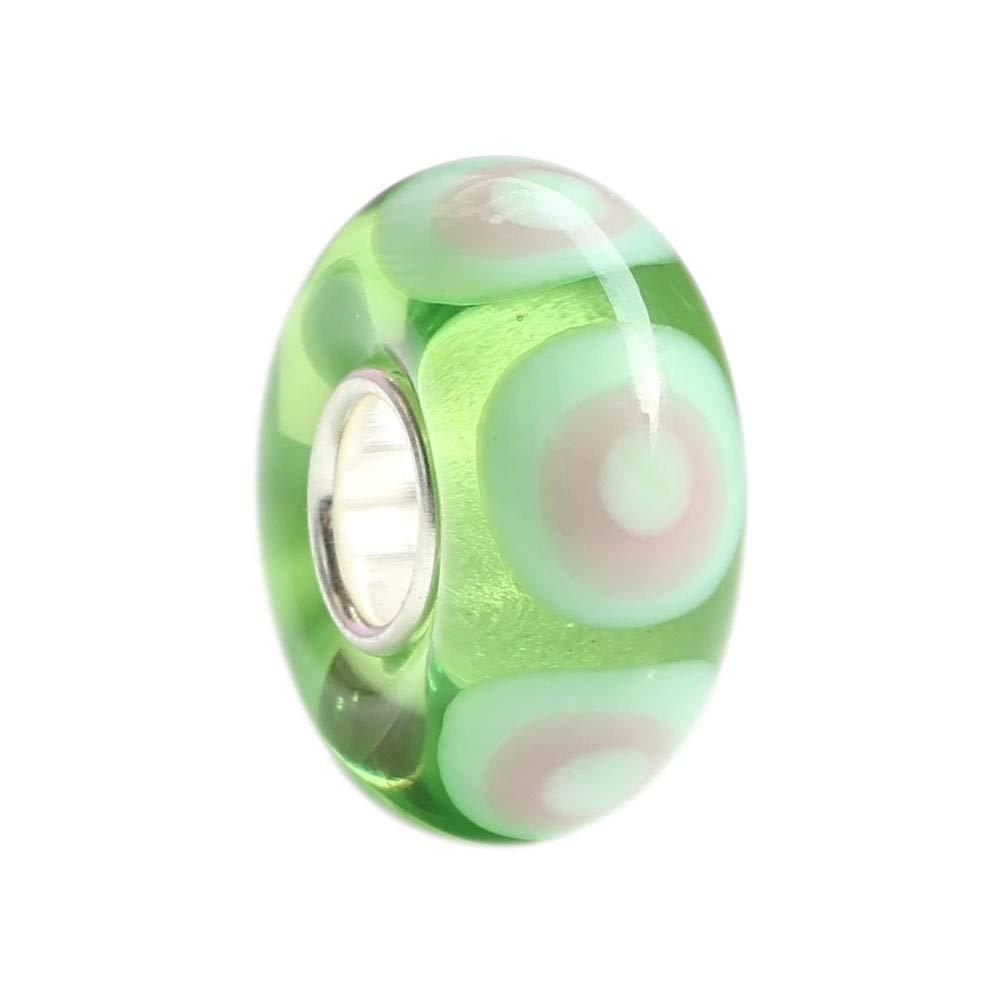Calvas 100/% Real 925 Sterling Silver Big Hole Murano Glass Charm Beads Fit Original European Charm Bracelets Geometric Beads