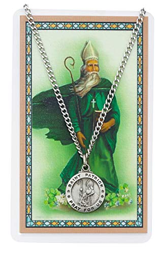 Saint Patrick 3/4-inch Pewter Medal Pendant with Holy Prayer Card