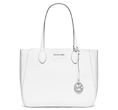 ecede388e062 Amazon.com: Michael Kors - Soft Leather Mae Large Reversible Tote (with  pouch) - White/Silver: Shoes