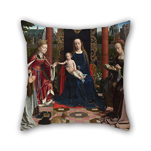 Oil Painting Gerard David - The Virgin And Child With Saints And Donor Cushion Covers 16 X 16 Inches / 40 By 40 Cm Gift Or Decor For Him Boys - Palm Beach Sectional
