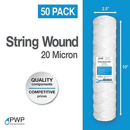 PWP String Wound Sediment Water Replacement Filter Cartridges Whole House 20 Micron 10 x 2.5 50 PACK by Pro Water Parts